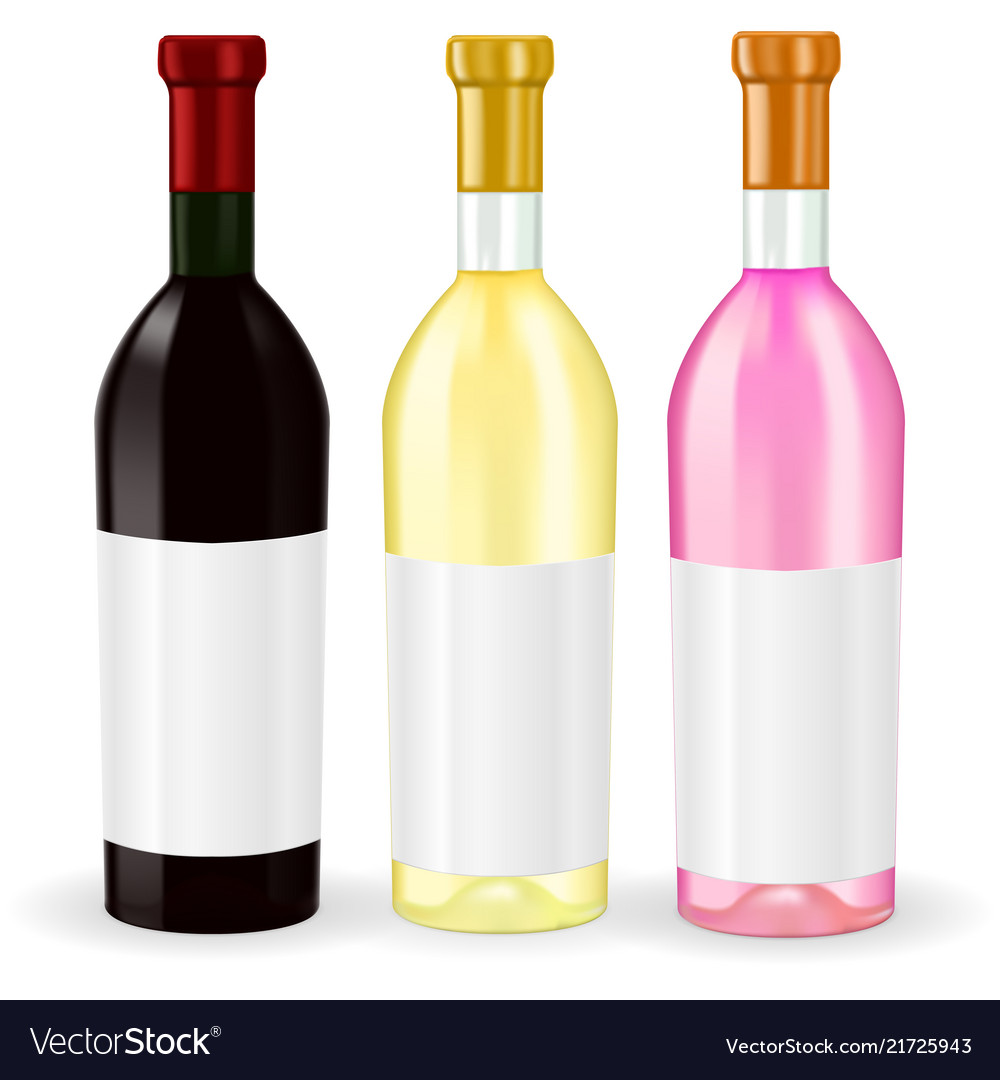 Bottles of wine red white and rise wine