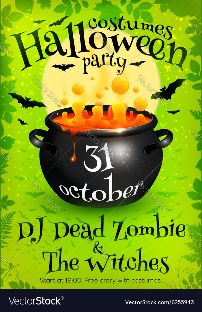 Bright green Halloween party poster template with