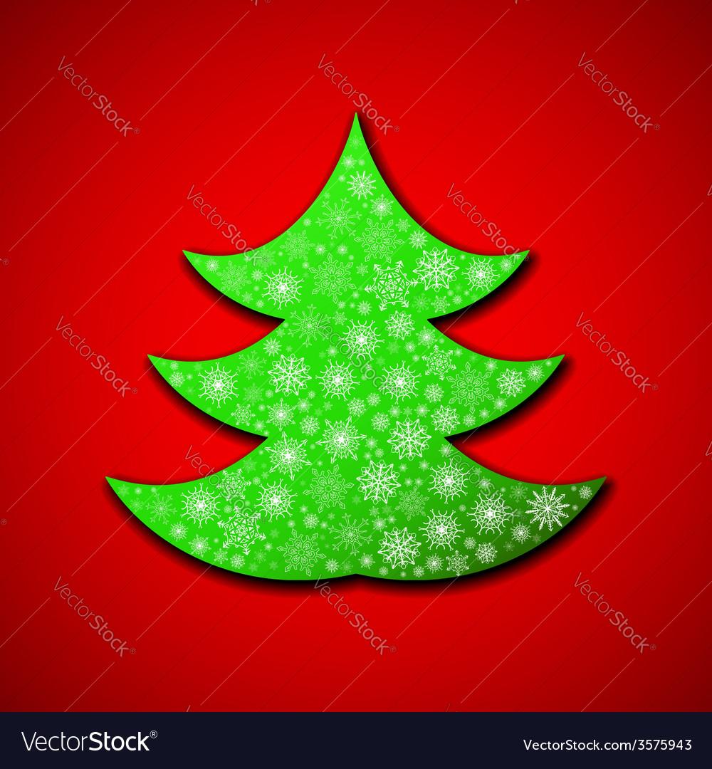 Christmas paper tree made of random snowflakes