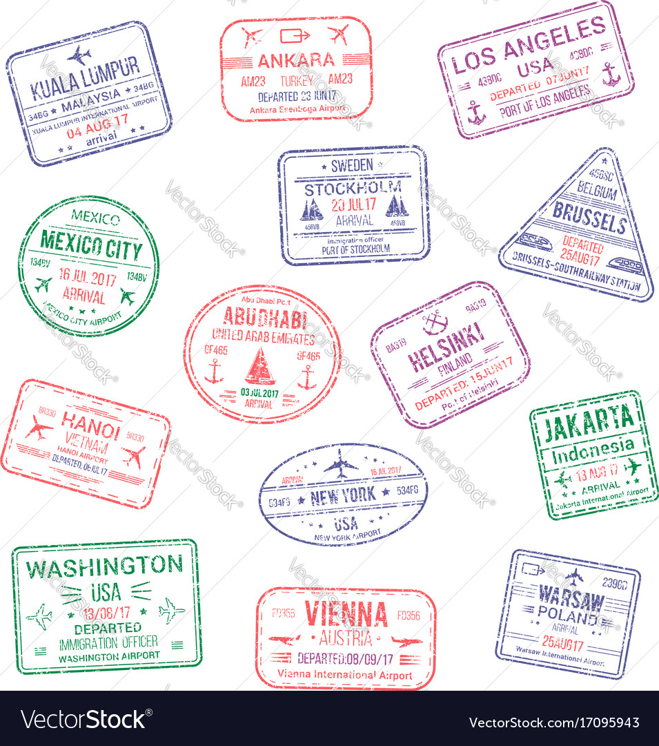 Icons of city passport stamps world travel
