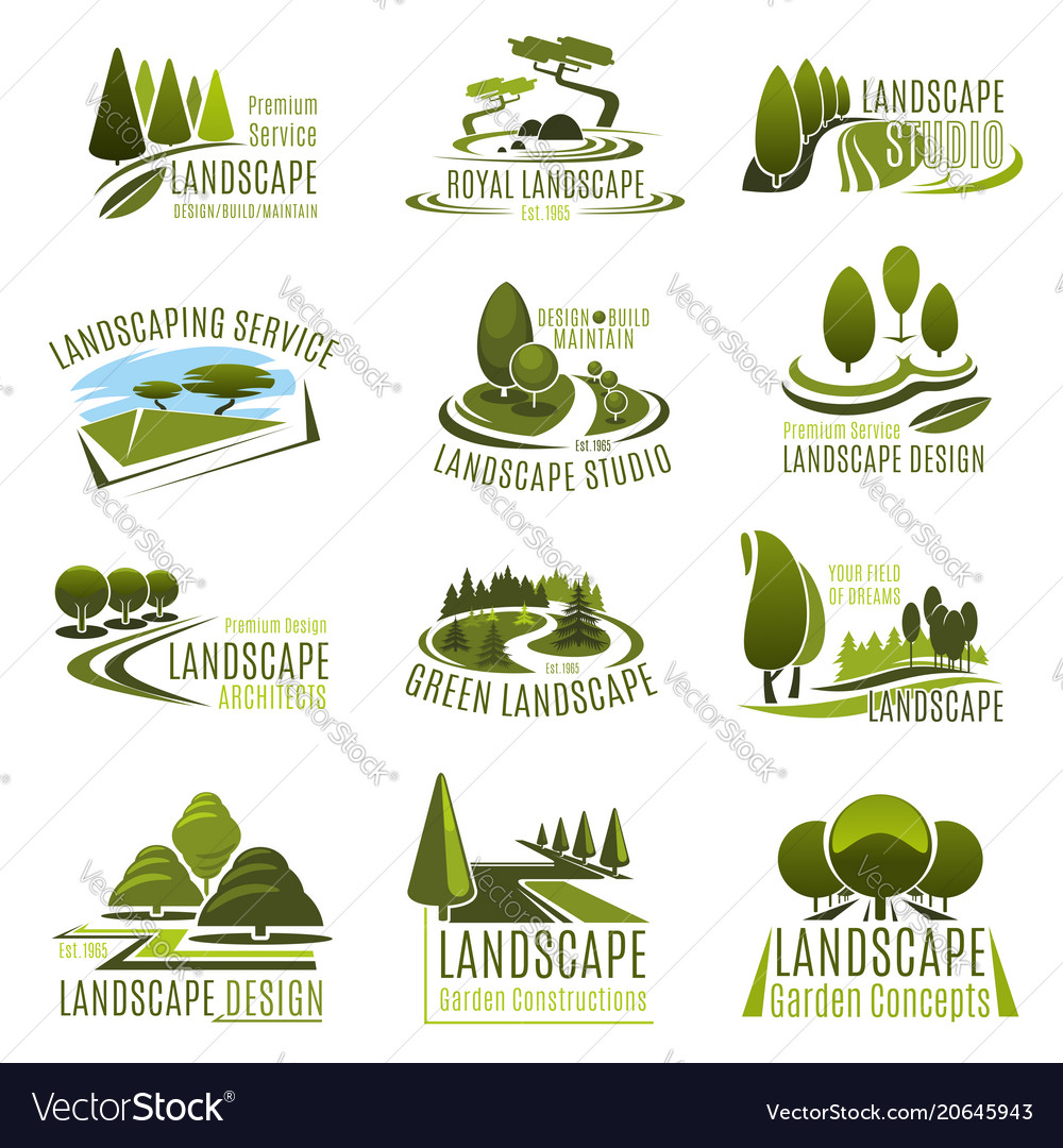 - Landscape Design Company Icon With Green Tree Vector Image