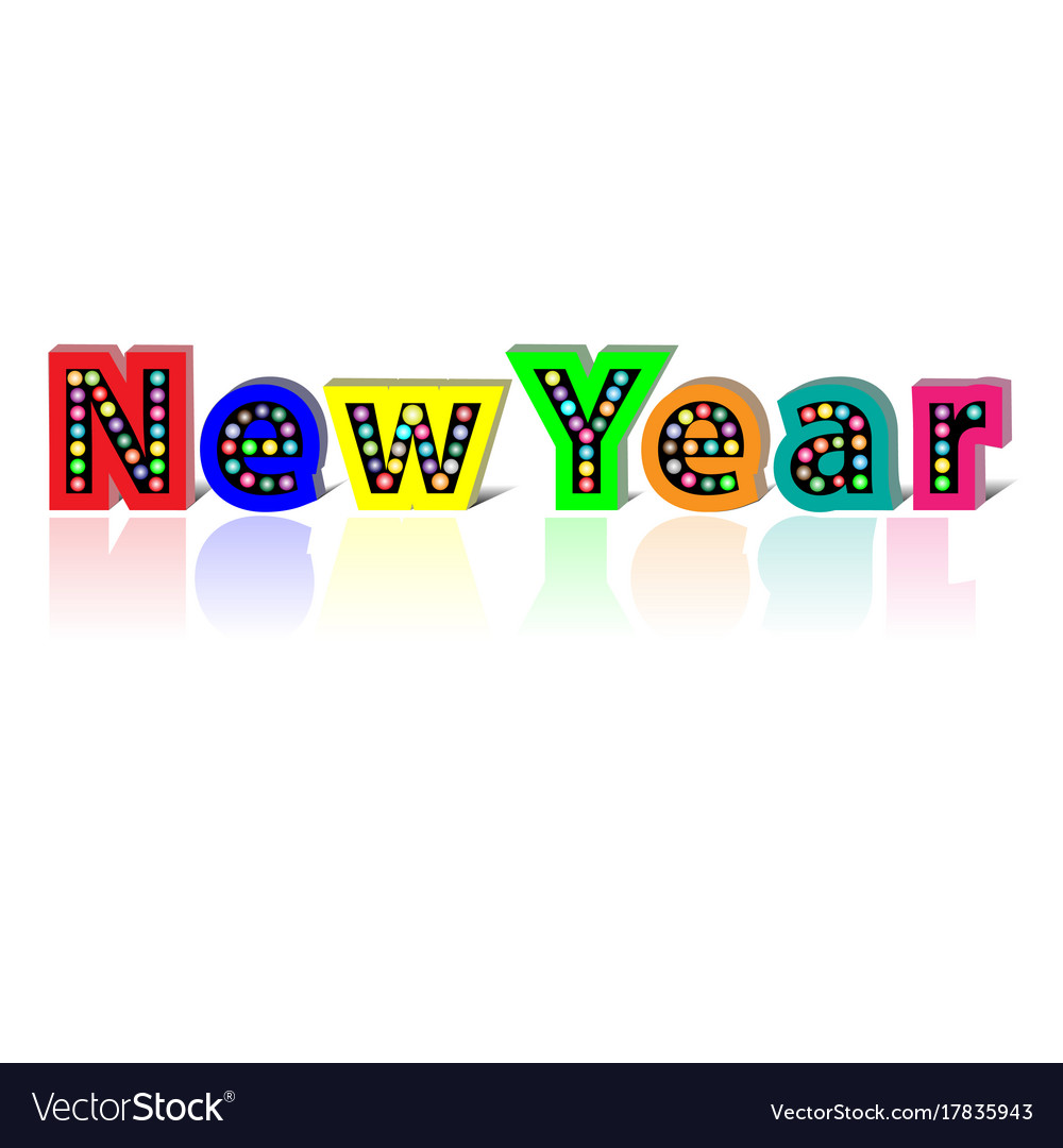 Lightbulb happy new year on white background