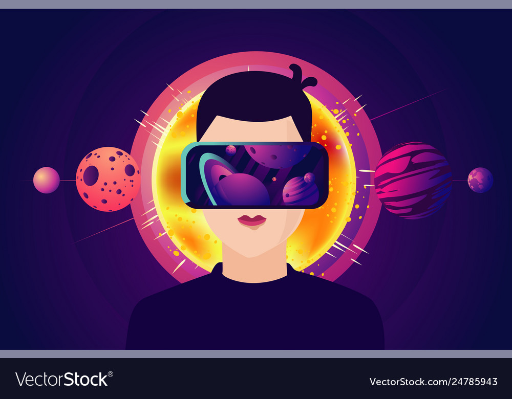 Man with virtual reality masc cyber space glasses