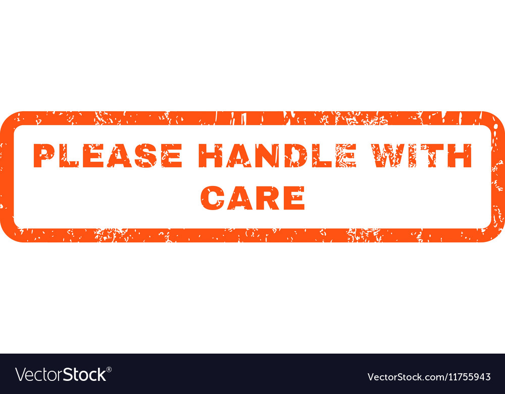 Please Handle With Care Rubber Stamp