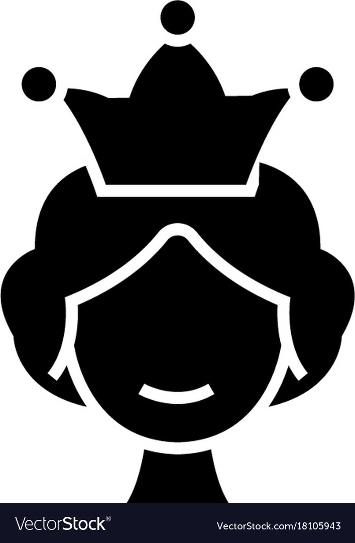 Queen Icon Black Sign On Royalty Free Vector Image