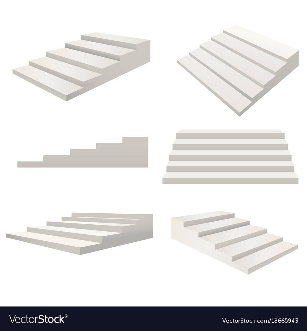 realistic detailed 3d template blank white stairs vector image