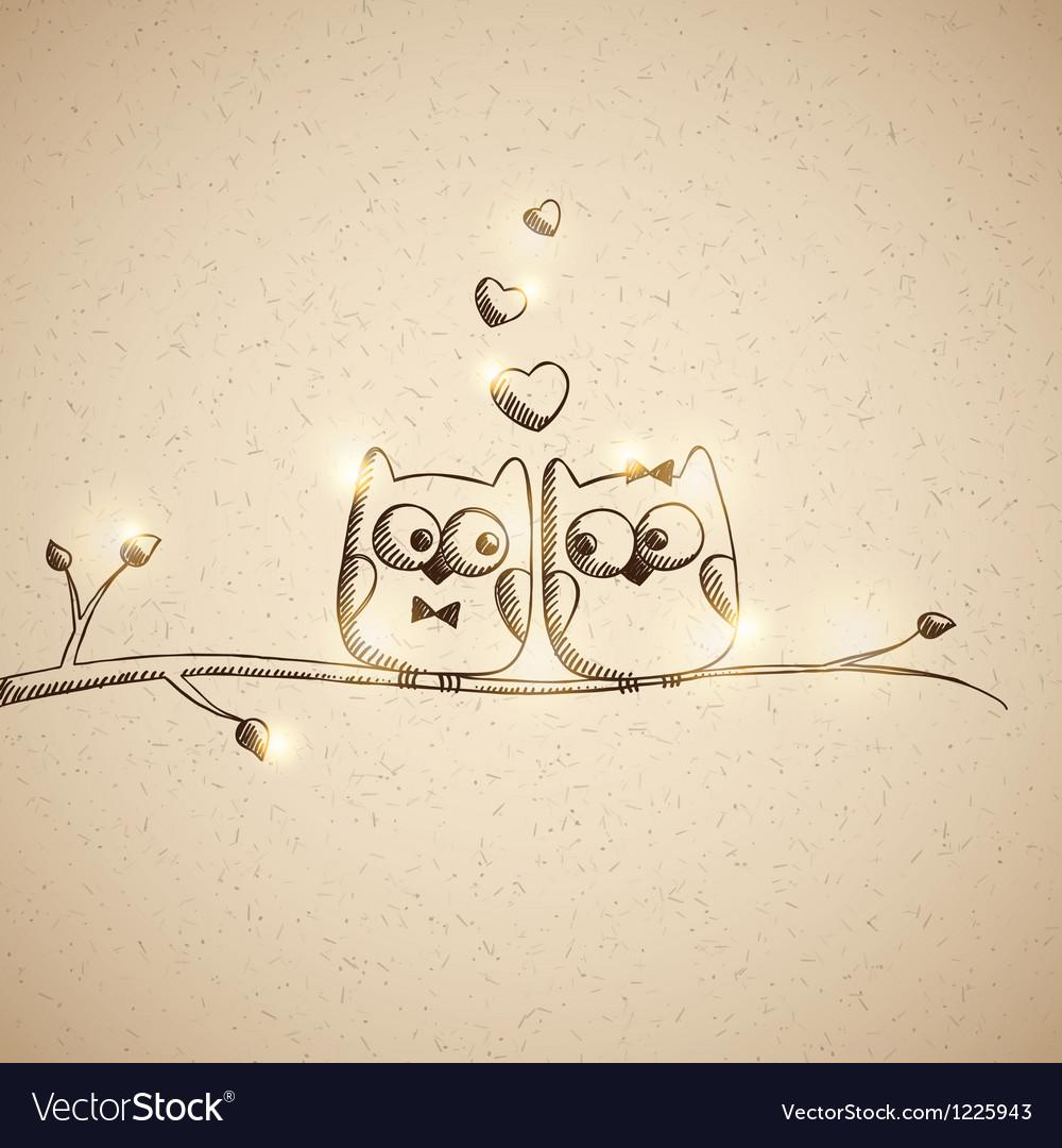Sketch lover owls vector image