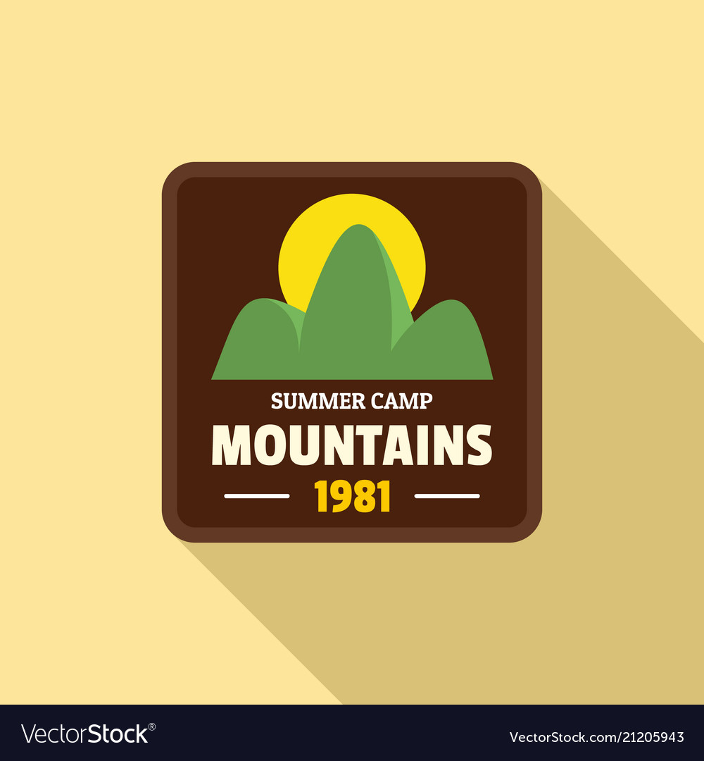 Summer camp mountains logo flat style