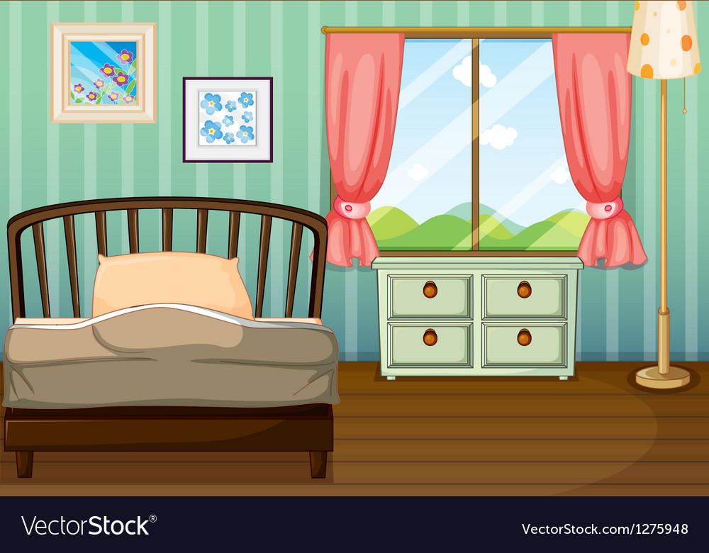 An Empty Bedroom Royalty Free Vector Image Vectorstock