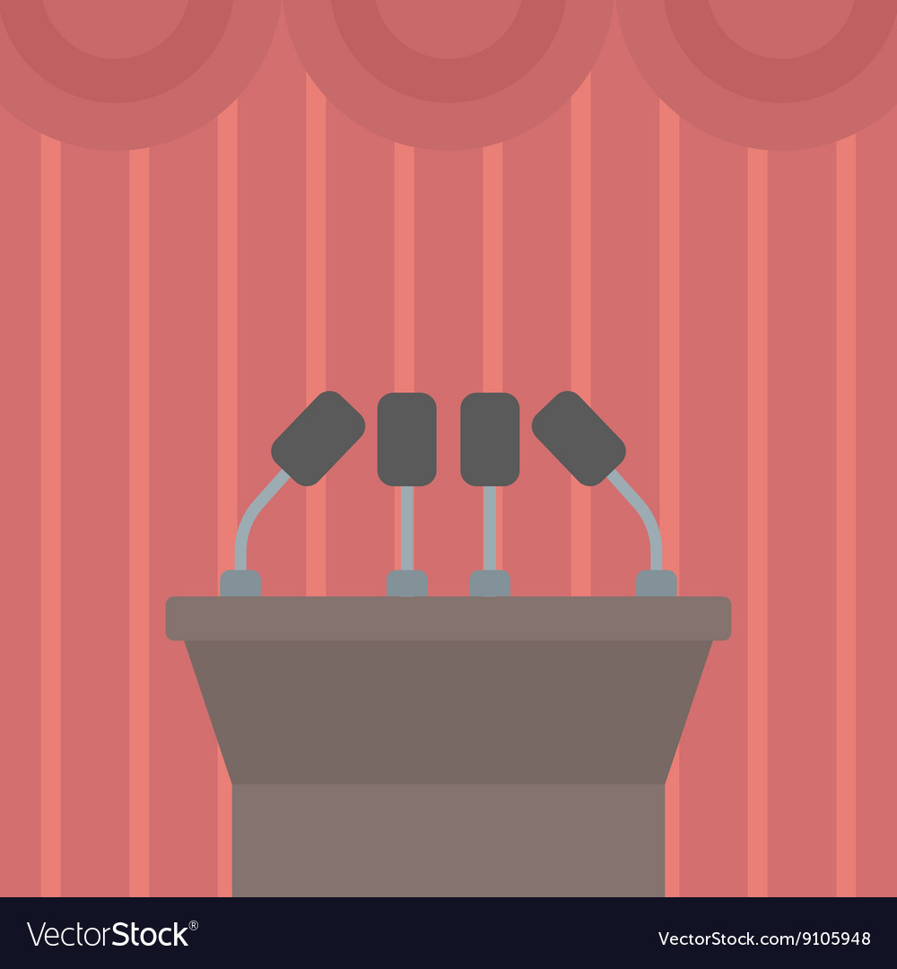 Background of tribune speech with microphones