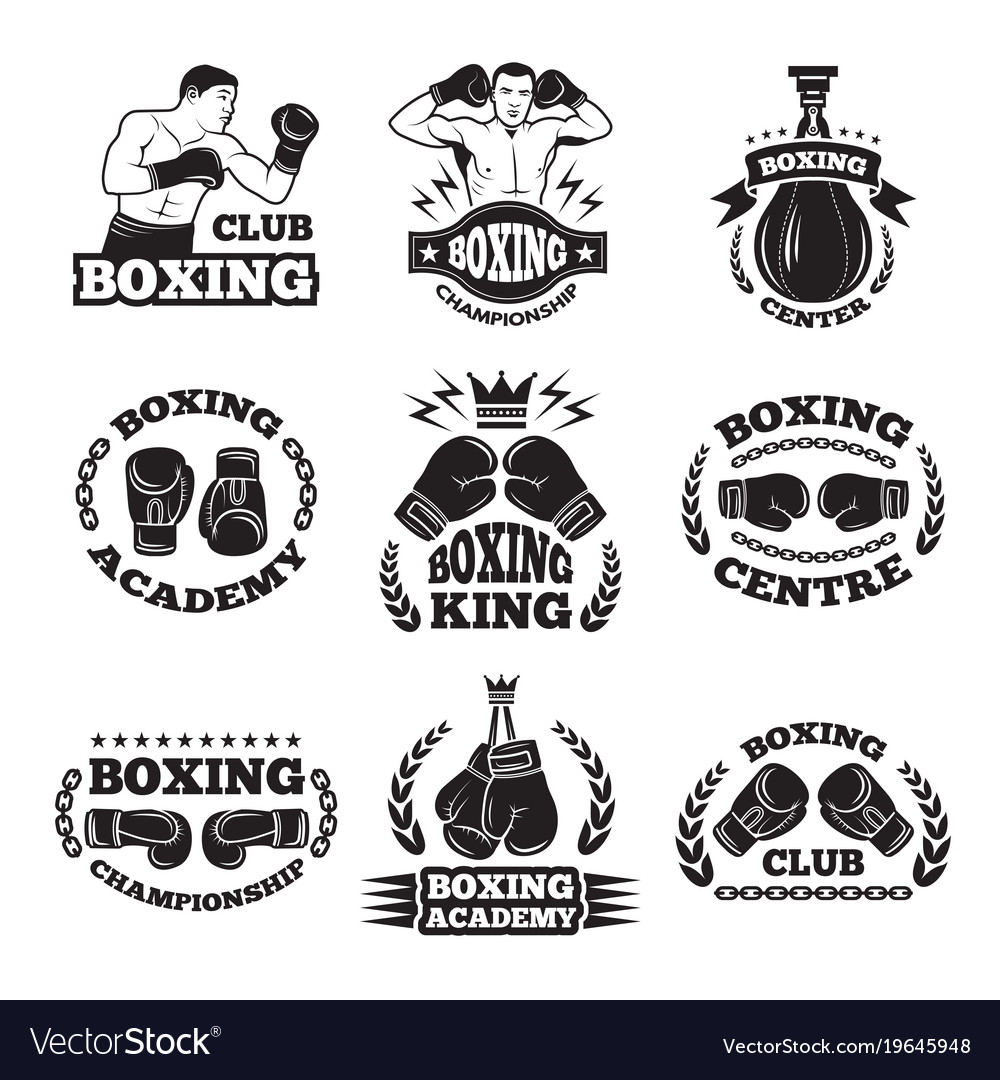 Boxing club or mma fighting labels monochrome