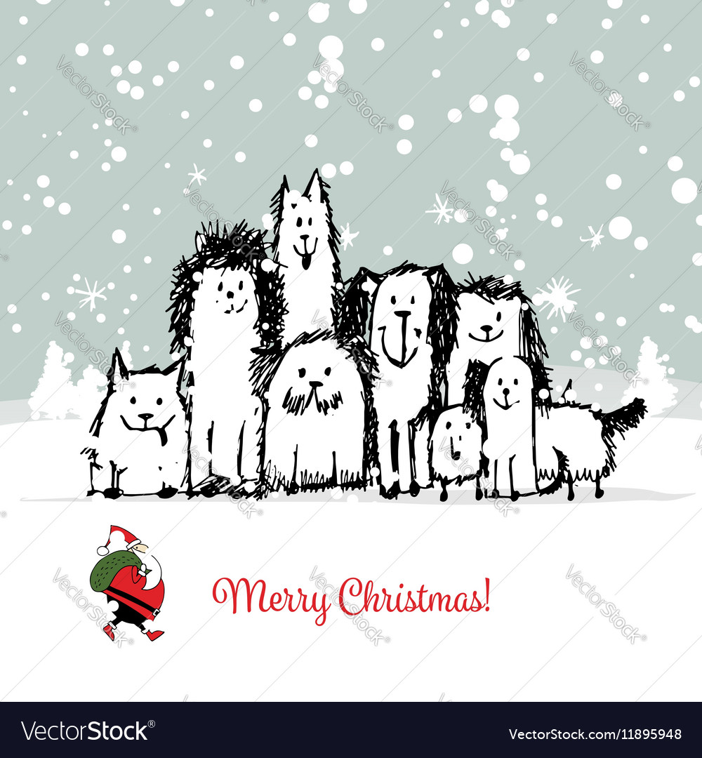 Christmas card with happy dogs family vector image