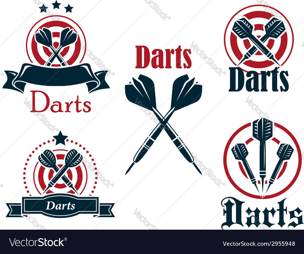 Darts icons emblems or symbols