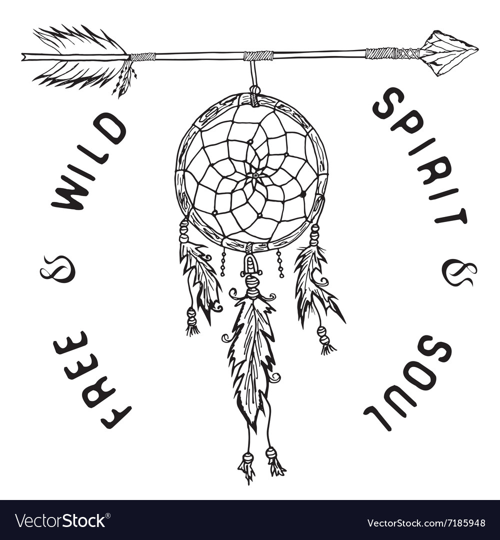 Dream catcher and arrow tribal legend in Indian