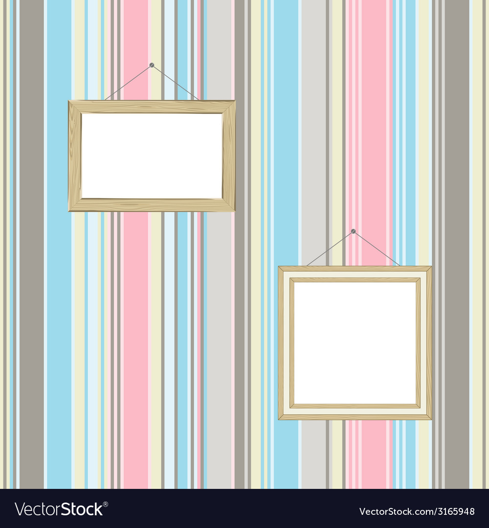 Frames On Striped Wallpaper Background Royalty Free Vector