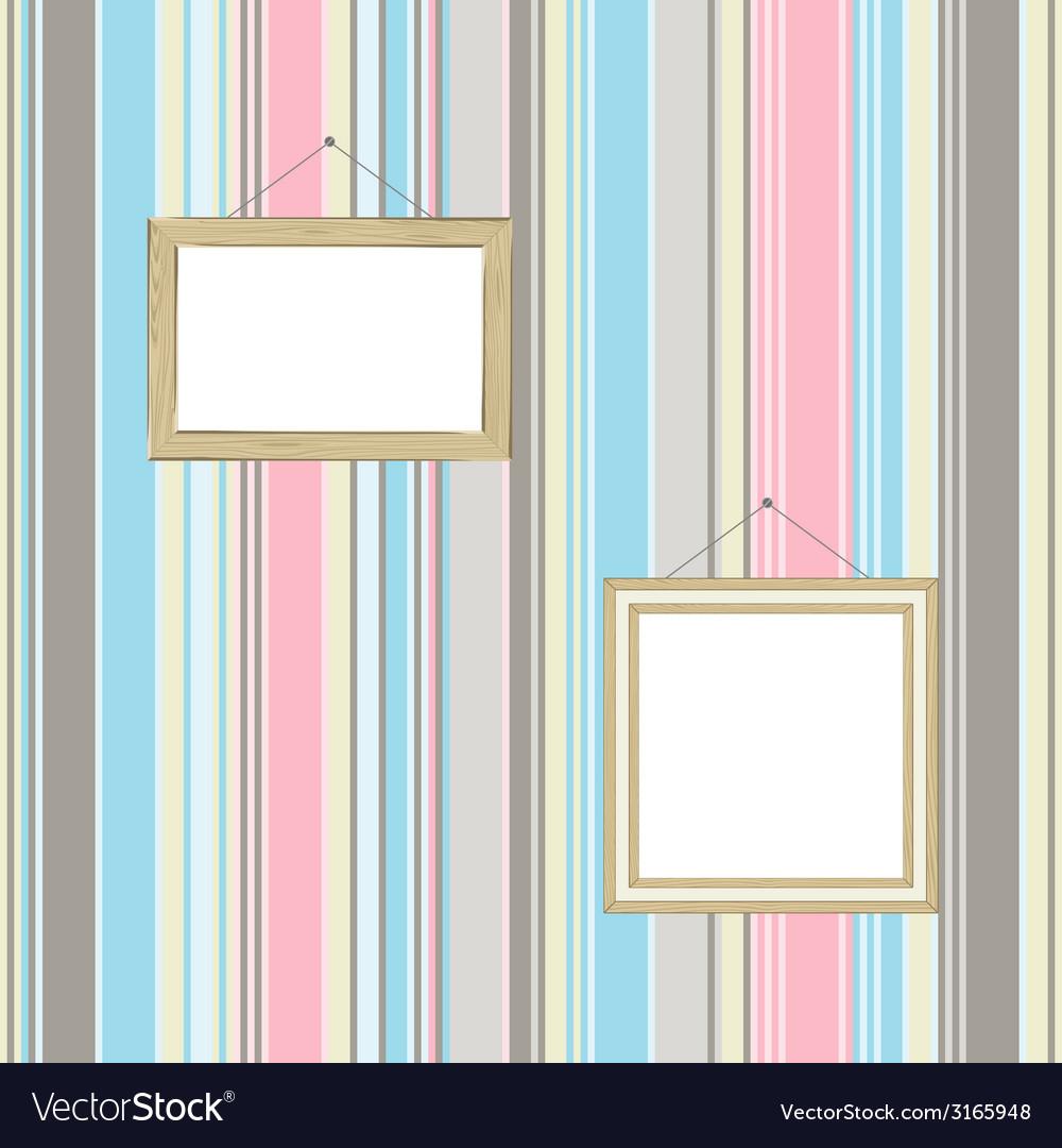 Frames on striped wallpaper background