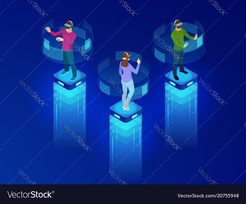 Isometric men and a woman wearing goggle headset