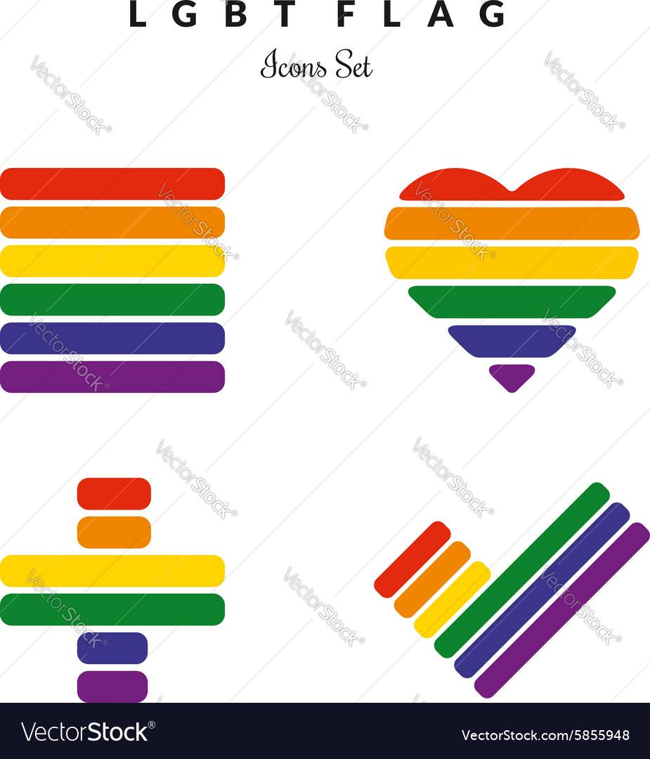 LGBT Pride Flag Rainbow Icons Set