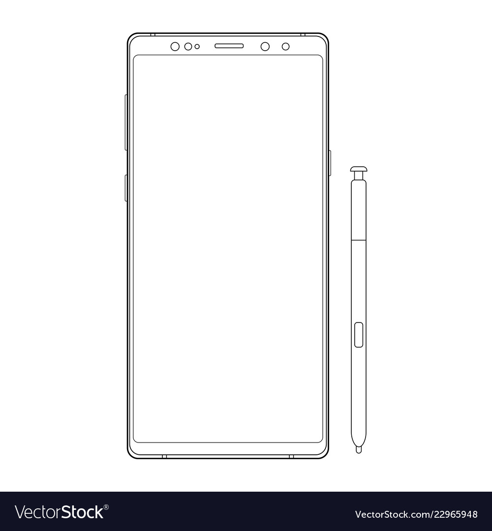 Outline cellphone with stylus isolated