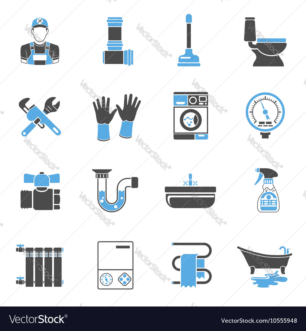 Plumbing Service Icons Sticker Set
