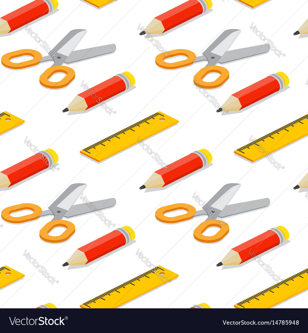 Seamless pattern with isometric pencil ruler and