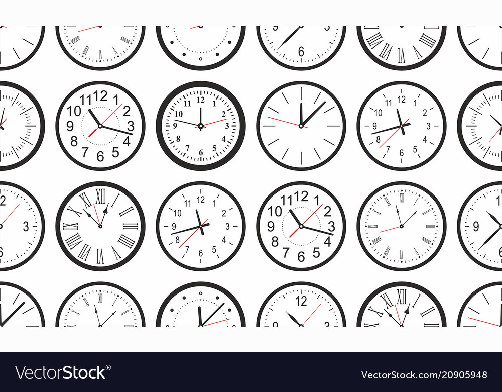 Seamless pattern with white round wall clock