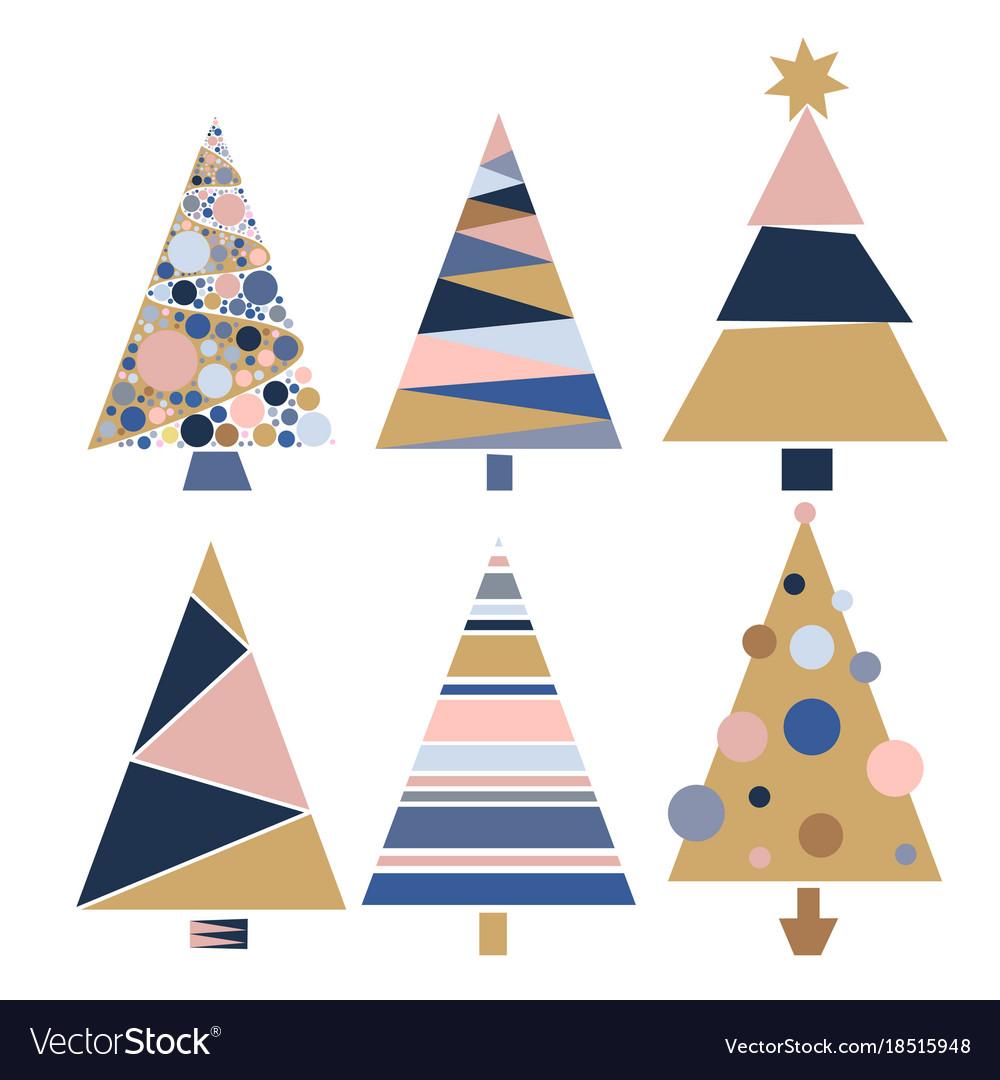 Set decoration christmas trees winter design