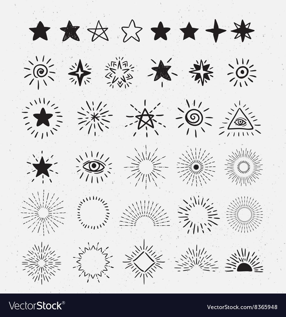 Set Of Vintage Sunburst and stars Hand-Drawn