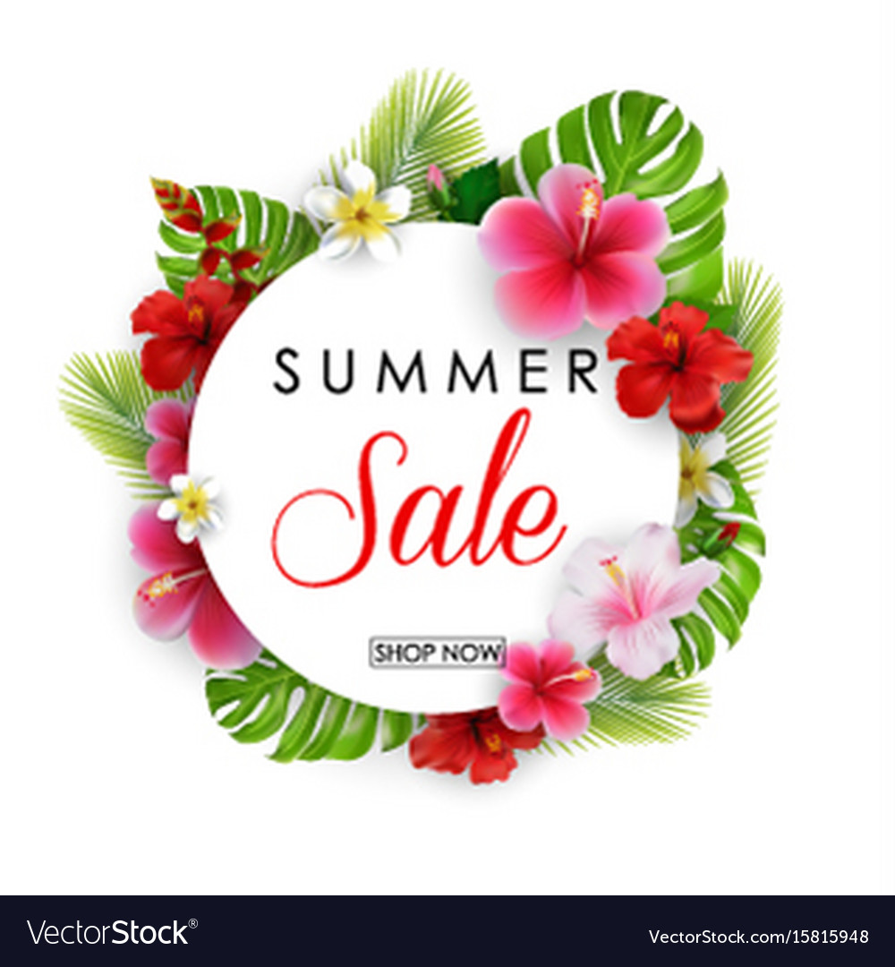 Summer Sale Round Background With Flowers