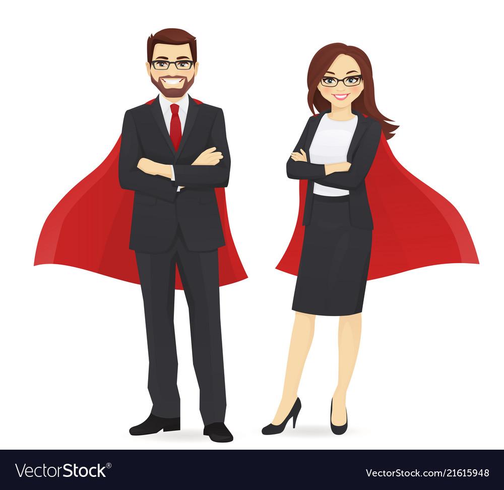 Superhero business man and woman