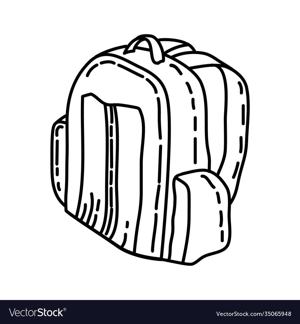 Travel bag icon doodle hand drawn or outline icon