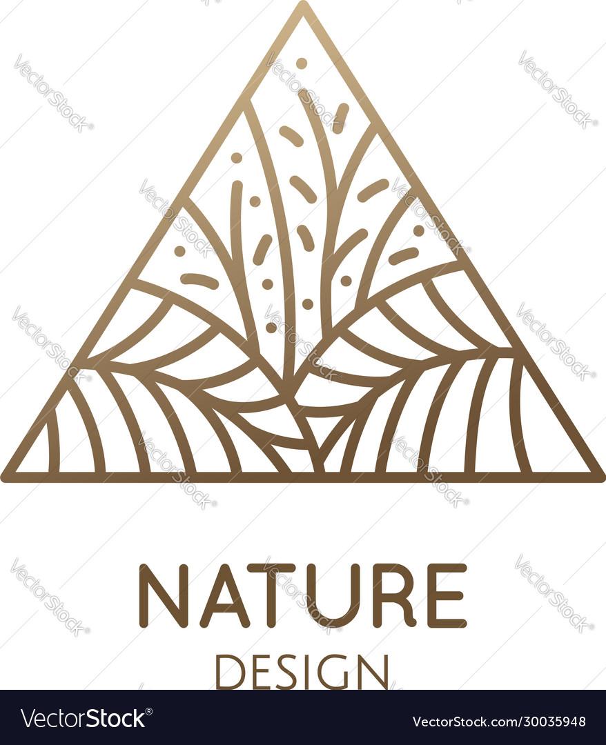 Tropical plant logo triangular emblem flower in