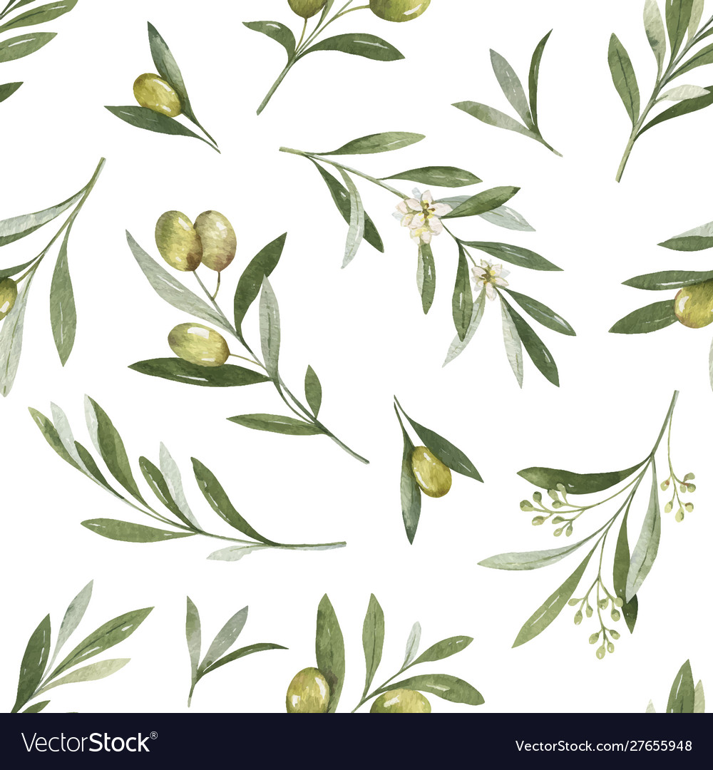 Watercolor seamless pattern olive