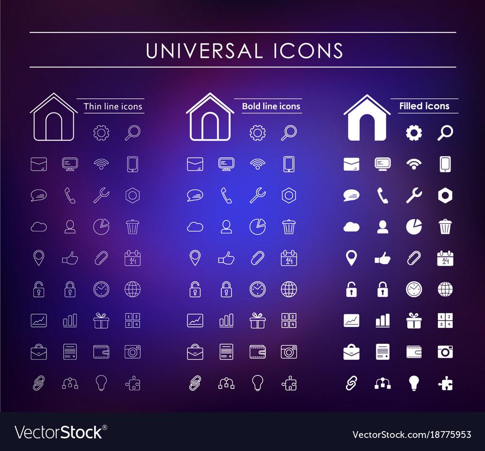 A set of universal white icons