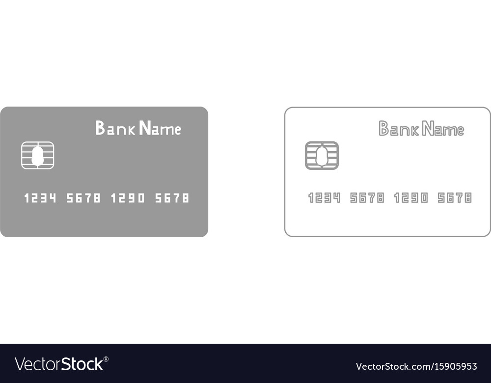 Bank cit card the grey set icon vector image