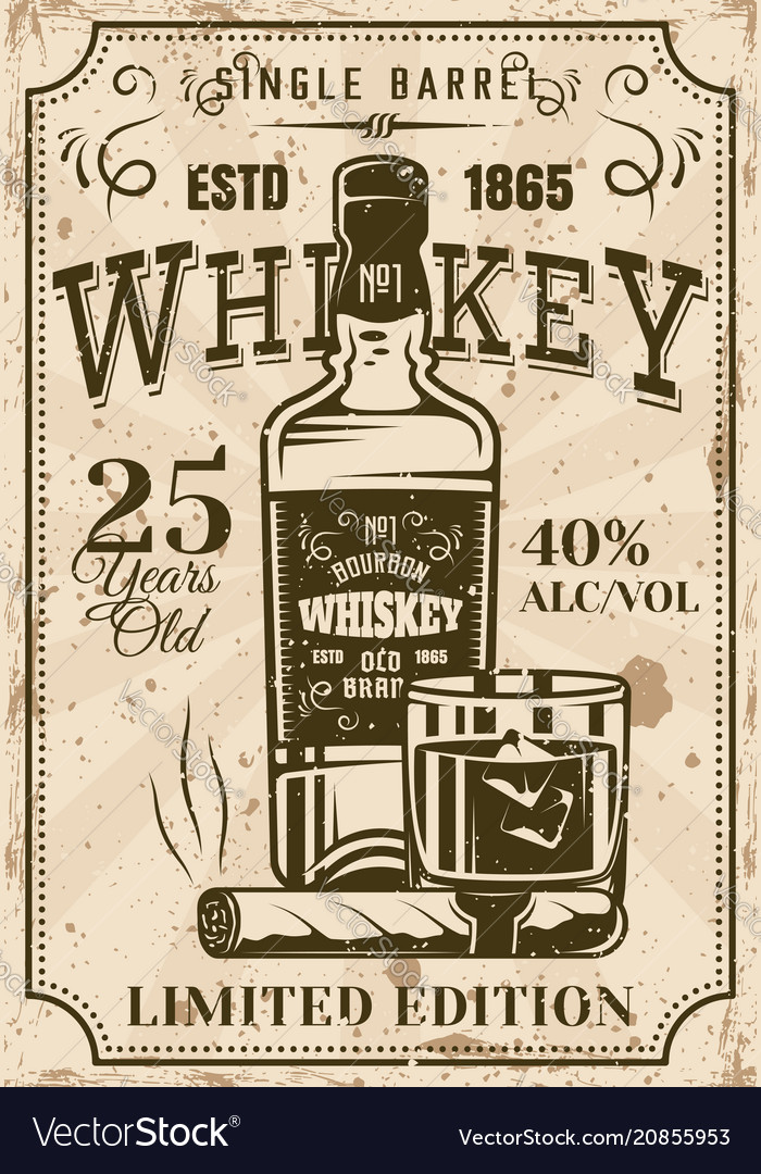 Bottle whiskey with glass cigar vintage poster