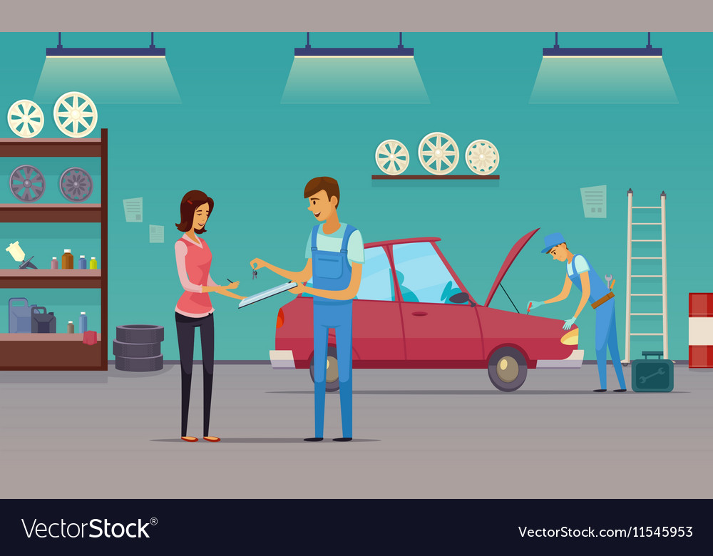 Car Service Garage Cartoon Composition Poster