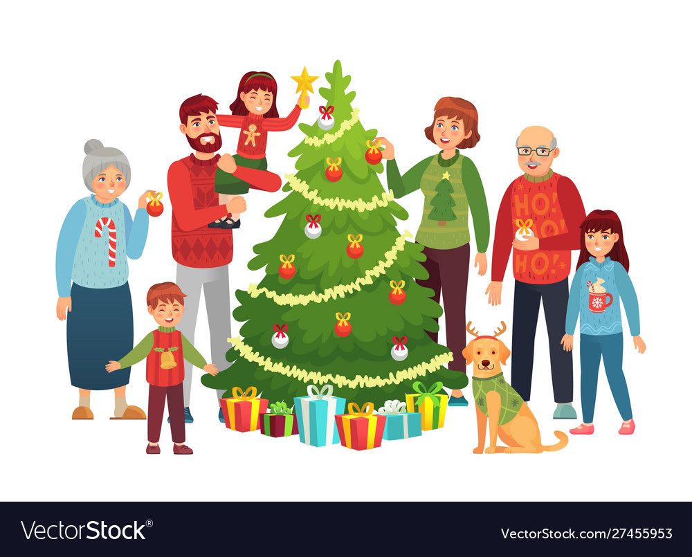 Cartoon christmas family portrait xmas tree