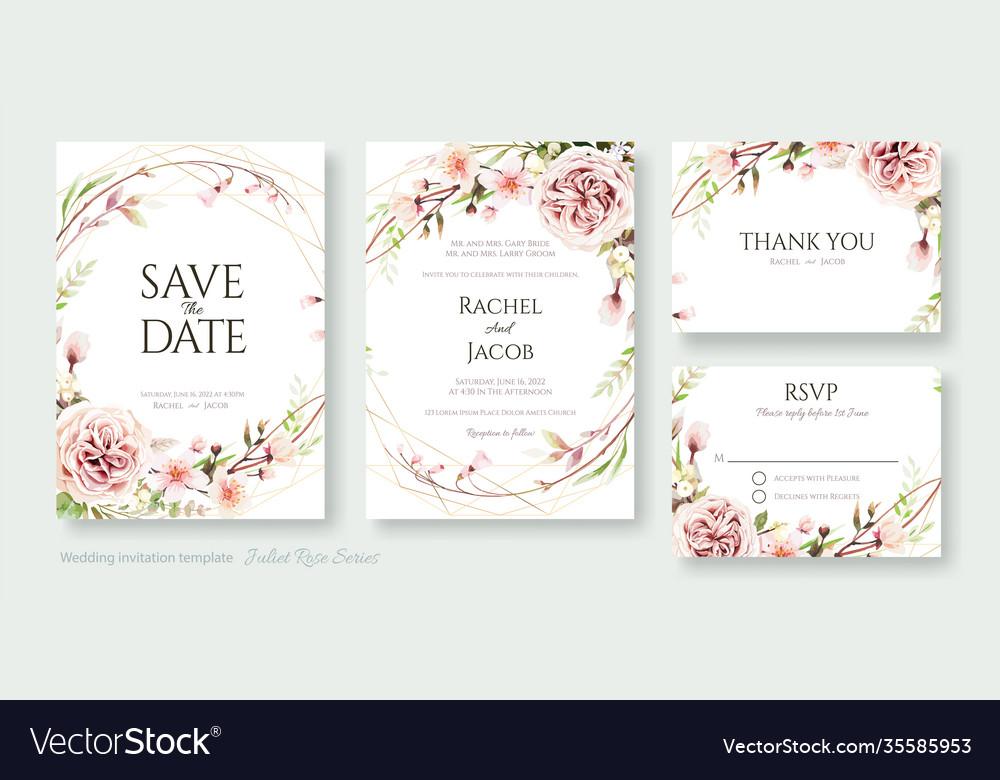 Cherry blossom flower wedding invitation card