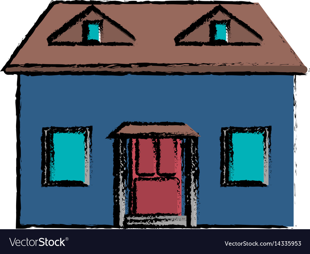 Drawing Blue House Red Door Simple Vector Image