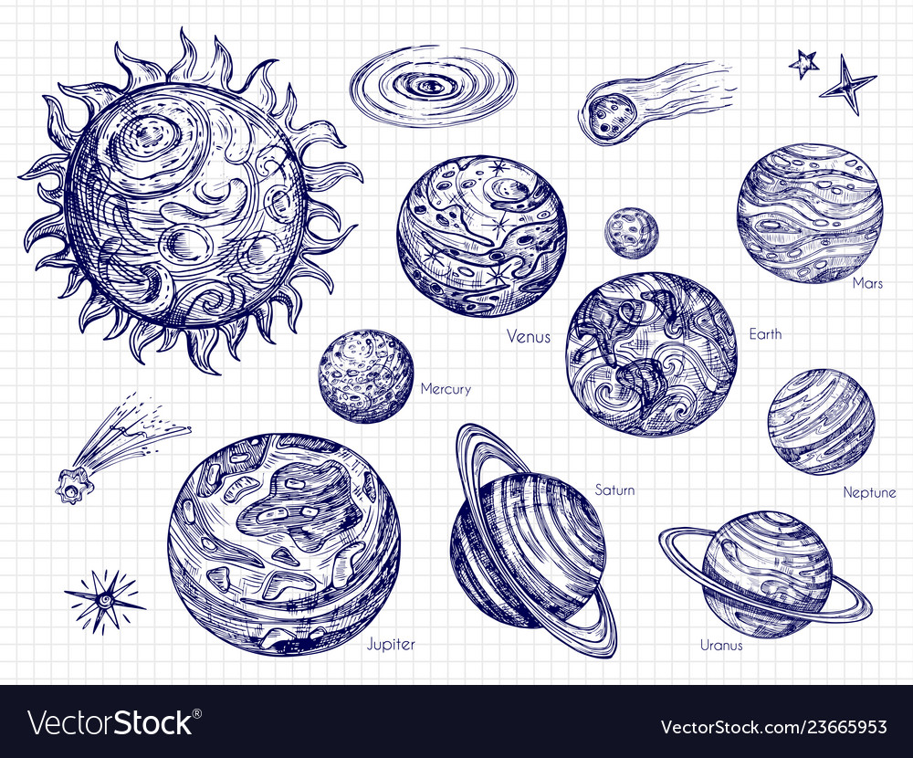 Hand drawn solar system and space elements