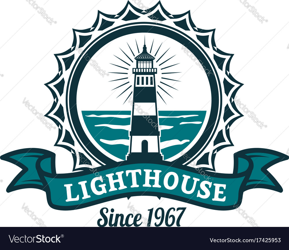 Nautical badge with lighthouse on sea shore vector image