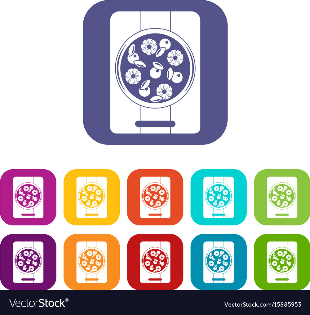 Pizza with pineapple and basil on board icons set vector image