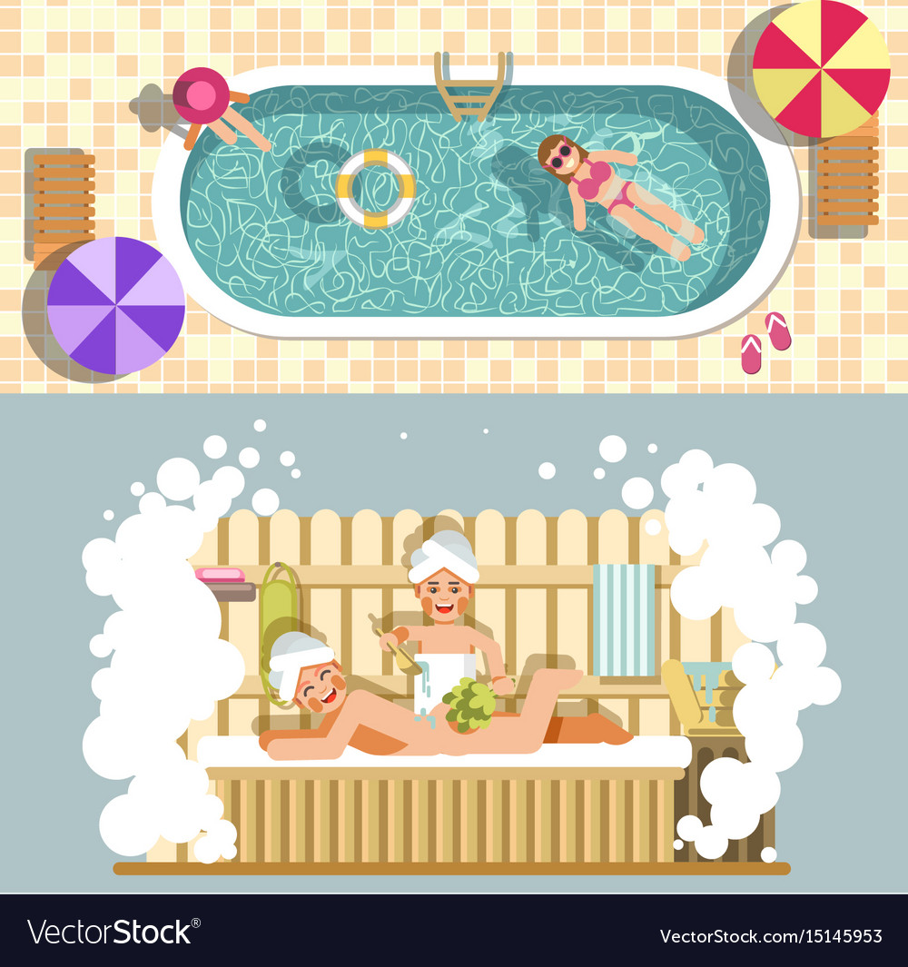 Sauna and swimming pool flat spa relax or