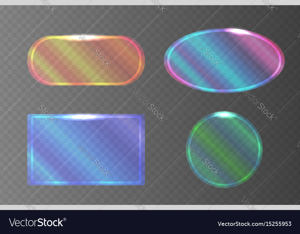 Set of transparent pearlescent banners of
