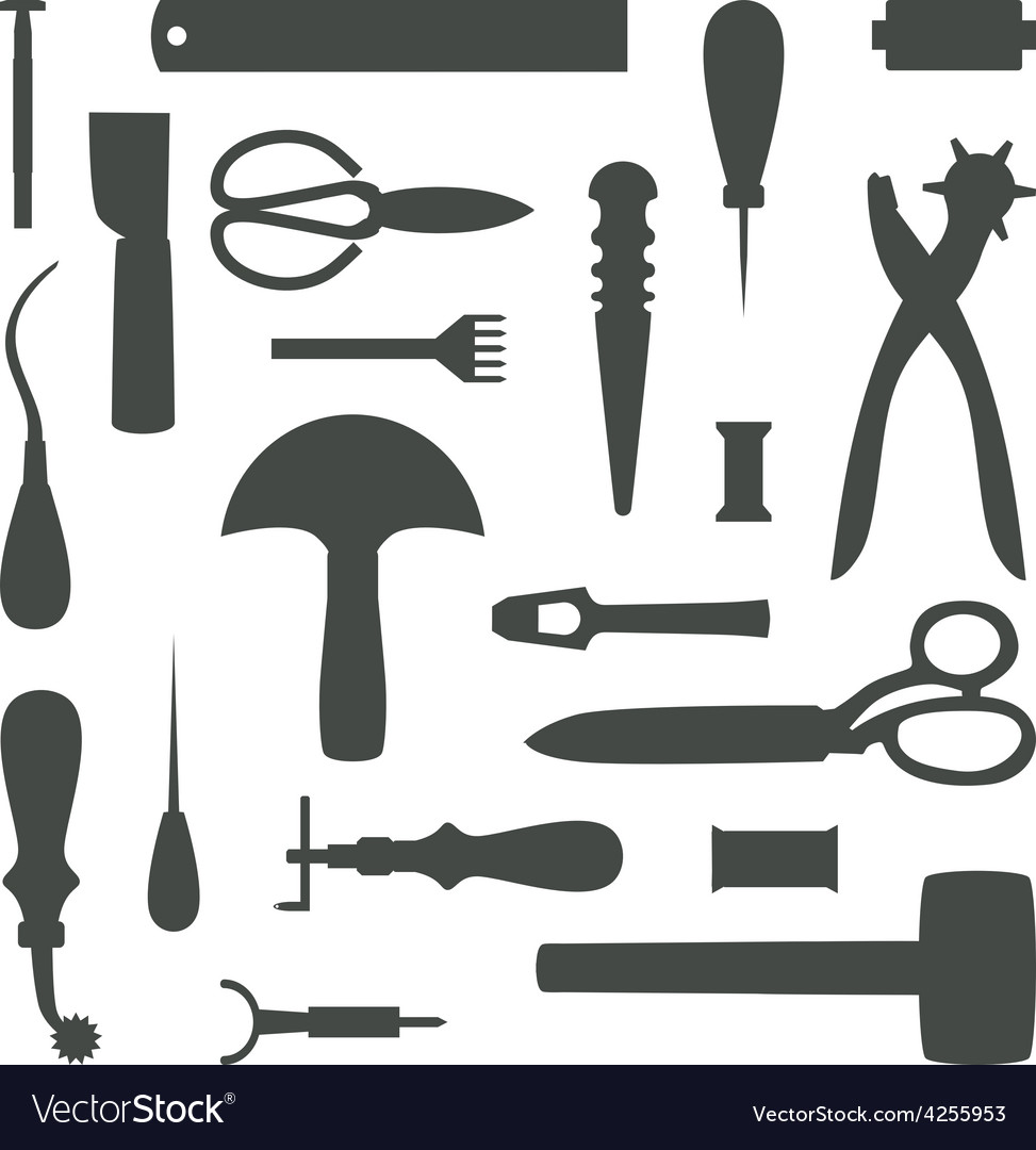 Silhouettes Of Leather Craft Tools Royalty Free Vector Image