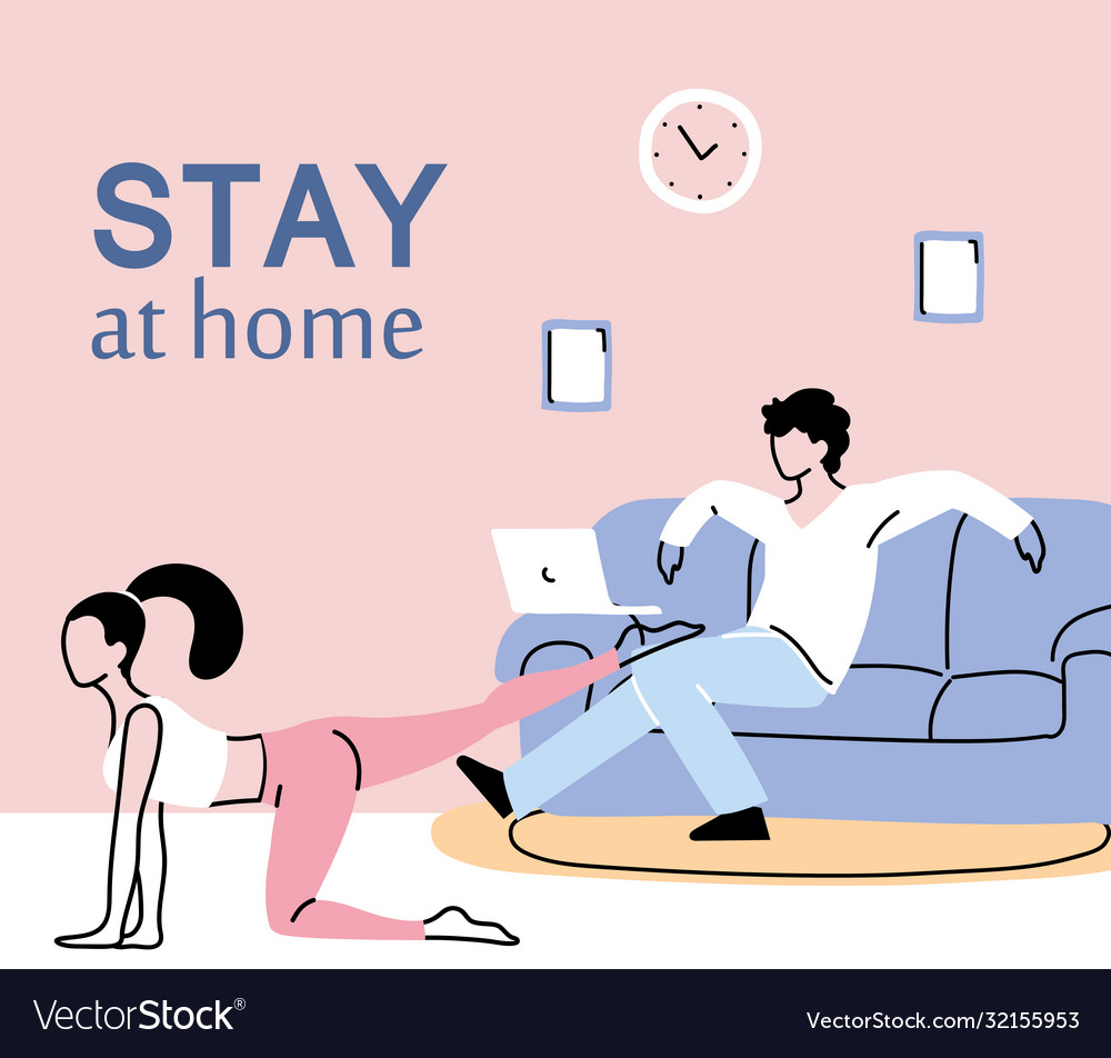 Young Couple Doing Activities At Home Royalty Free Vector