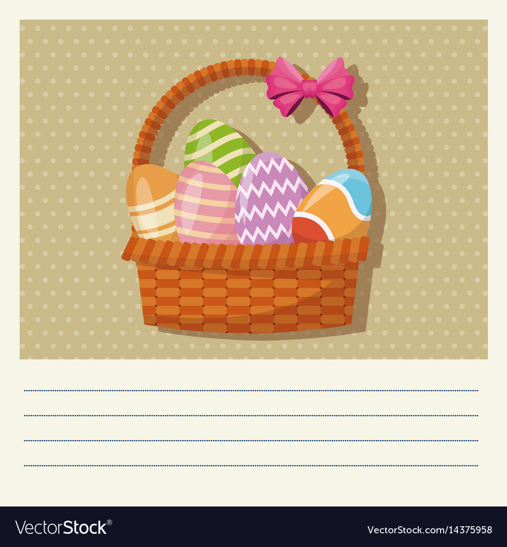 Cartoon basket egg easter celebration vector image