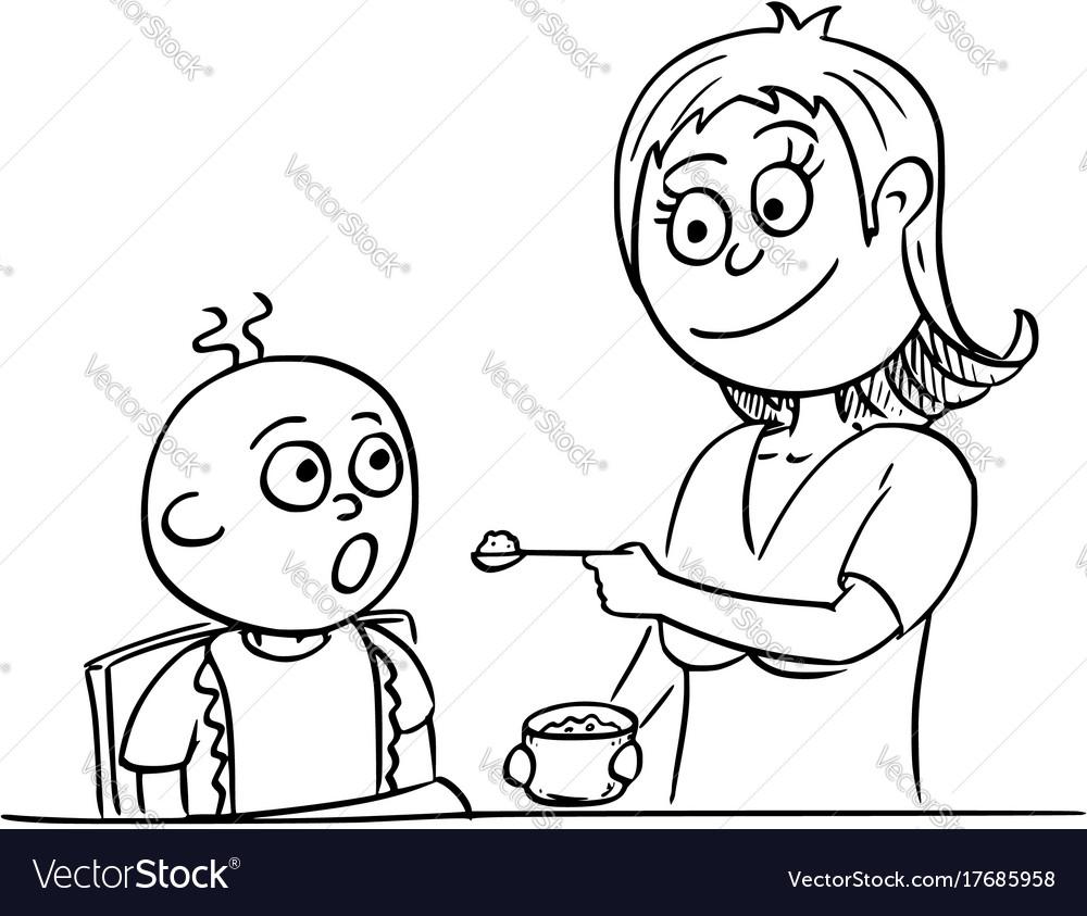 Cartoon of mother feeding baby