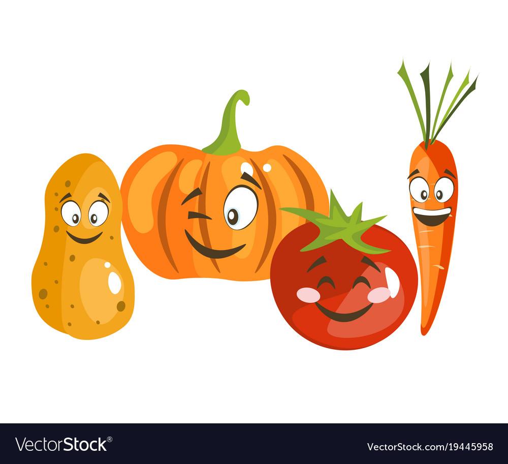 Cartoon vegetable cute characters face